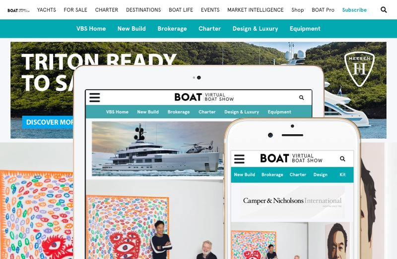 Virtual Boat Show banners on devices